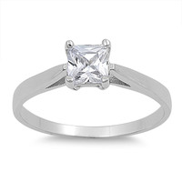 925 Sterling Silver CZ Classic Solitaire Princess Cut Ring 5MM