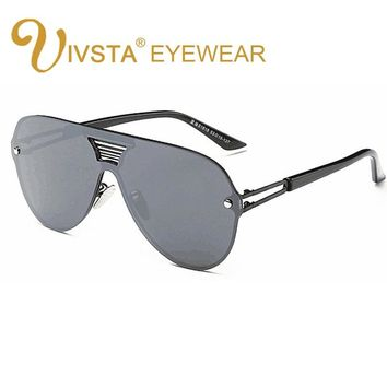 IVSTA Steampunk Sunglasses Men Oversized Sunglasses Women Large Frame Glasses Big Mirror Hipster Flat Lens Sunglasses Man 8051