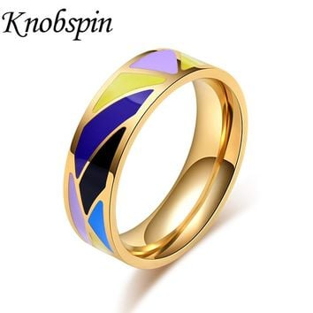 Vintage Geometric Colorful Enamel Ring for Women High Quality Wedding Band Jewelry for Anniversary Engagement bague femme