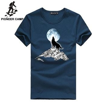 Pioneer Camp 2017 Fashion print wolf pattern casual t-shirt white/black young fashion funny t shirts cotton men clothing