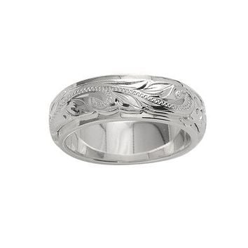 Sterling Silver Hawaiian Plumeria and Scroll Ring with Plain Edge