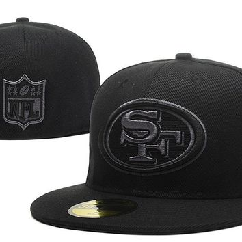 auguau San Francisco 49ers New Era 59FIFTY NFL Football Cap All-Black
