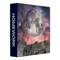 Moon Over Mountain Lake 3 Ring Binder from Zazzle.com