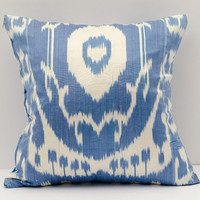 15x15 ikat cushion cover, cushion case, pillow cover, pillows, ikat, throw pillow, accent pillow, blue pillow