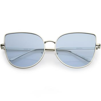 Oversize Metal Cat Eye Sunglasses Round Color Tinted Flat Lens 60mm