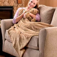 Mocha Brown Plush Throw and Bear Set Soft Blanket Kid's Naptime Sleepover Gift