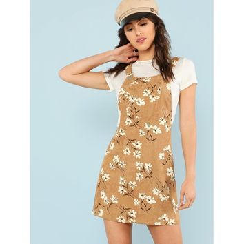 Daisy Print Overall Dress