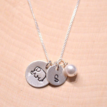 Handstamped Sterling Silver Elephant Charm, Initial and Pearl Necklace , Personalized Necklace