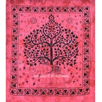 Maroon Elephant With Tree Wall Tapestry, Queen Cotton Fringed Bedding on RoyalFurnish.com