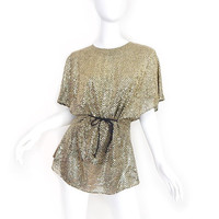 Vintage 80s Metallic Gold Disco Tunic Top - Size Small - Glittering Glam Sequined Women's Oversized Kimono Sleeve Blouse