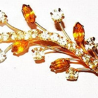 "Citrine Brooch Pin Yellow Clear Rhinestones Flower Leaf Design 2.5"" Vintage"