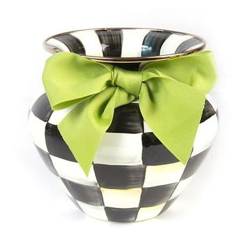 Courtly Check Enamel Vase - Green Bow