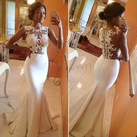 Free Shipping Elegant Women Lace Party Dresses Ball Prom Gown Formal Trumpet Fishtail Mermaid Maxi Long Dress White SV02