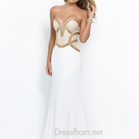 White and Gold Blush Prom Dress 10006