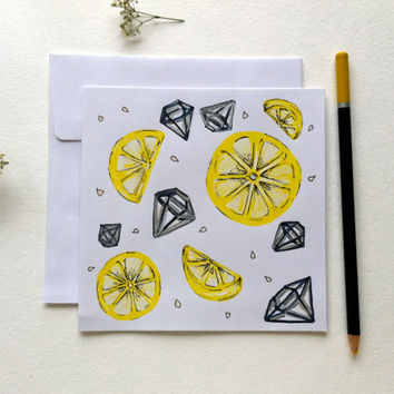 Lemons & Diamonds. Blank Greeting Card for Spring and Summer, Hand Drawn Design on White Square Card