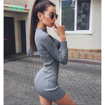 TAOVK new fashion Russian style Women knit dress 6 colors semi high collar long sections Slim package hip knit dress