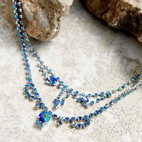 Delicate Rhinestone Marquise Necklace- Silver One