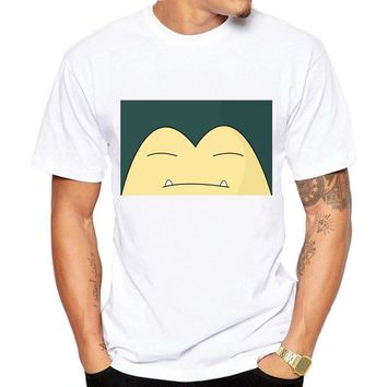 High Quality Brand T-Shirt Happy Snorlax  Monster T Shirt For Men Funny Design Anime Print Tee Shirts Slim FaddishKawaii Pokemon go  AT_89_9