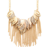 CHELSEY HUFFMAN Gold-Tone Statement Fringe Necklace