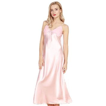 Ladies Plus Size Long Silky Satin Nightgown With Lace Bodice