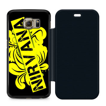 Nirvana Logo Leather Wallet Flip Case Samsung Galaxy S6