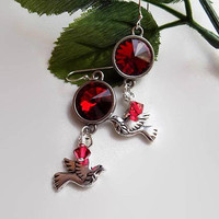 Scarlet Crystal Dove Earrings Scarlet Silver Rivoli Earrings Silver Dove Earrings  Gift for a Friend