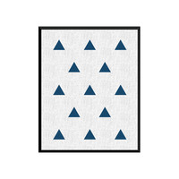 Nursery decor, Blue Art, Triangle Art Prints, Wall Art, Blue Wall Art, Geometric Print, Minimalist art, Blue Digital print, Digital Download