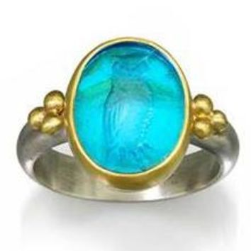 Owl of Athens Intaglio Ring Venetian Glass