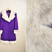 Jingle Bells - Vintage 60s Royal Purple White Real Fur Collar and Trim