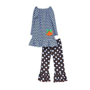 2016 High Quality Toddler Girl Clothing Set Striped Pullover With Lovely Pumpkin Polka Dot Printing Ruffle Pants Sets H013