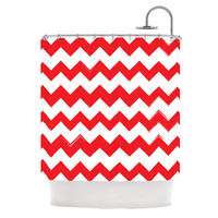 "KESS Original ""Candy Cane Red"" Chevron Shower Curtain"