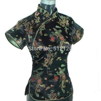 Shanghai Story New Sale cheongsam top traditional Chinese Shirt faux Silk/Satin Top dragon and phoenix blouse top 3 color