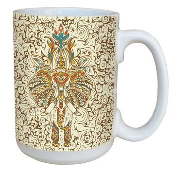 Elephant Mehndi Mug - Large 15 oz Ceramic Coffee Mug