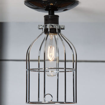 Nickel Cage Light - Ceiling Mount
