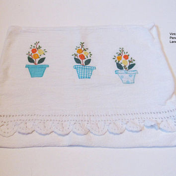 Vintage Handmade Pillow Cover, Cushion Cover, White Cotton, Embroidery, Crochet, Applique