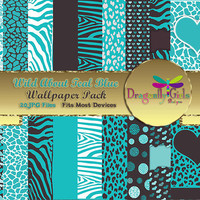 80% OFF Sale WILD About Light Teal Digital Wallpapers for Mobile Devices, Instant Download, Zebra Leopard Animal Print