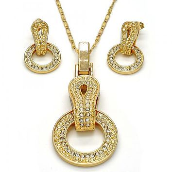 Gold Layered 10.273.0011 Necklace and Earring, with White Crystal, Polished Finish, Gold Tone