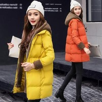 Newest thick women's down jacket women winter Long coat Solid with hat coat filler White duck down woman duck down jacket