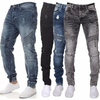 Men's Skinny Jeans Blue Denim Pants Fit Biker Jogger Fashion Stretch Casual Trousers