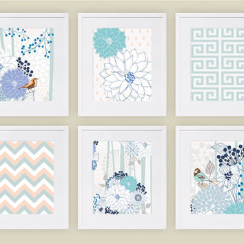 "8""x10"" & up, Set of (6), Navy/White/Aqua Bird Flower Wall Art Prints, Living Room Art Print, Modern/Vintage Home Decor, Nursery/Kids Art"