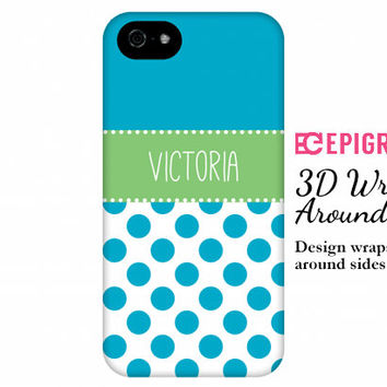 Personalized iPhone 6 case, turquoise iPhone 6 plus case, iPhone 5c case, iPhone 4s case, galaxy s5 case, polka dots iPhone 6 case