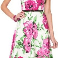 Amazon.com: AGB Floral Print Pleated A-Line Dress: Clothing