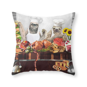 Society6 Sloths Throw Pillow