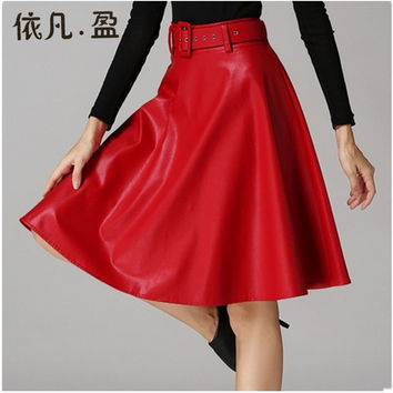 2017 Spring Winter Belt Skirt Women All-Match Classic PU Leather Pleated Skirt High Waist Midi Skirt Plus Size