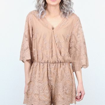 Naturally Gorgeous Solid Lace Romper {Nude}