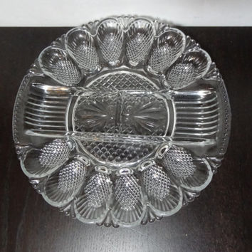 Vintage L.E. Smith Heritage Sectioned Clear Glass Deviled Egg /Relish Platter