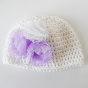 easter hat, Baby Hat, Newborn Girl Hat, Crochet Baby Hat, Newborn Photo Prop, decorated with flowers, kids clothing, spring celebration