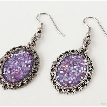Purple Glitter Earrings, Antique Silver Cameo, Surgical Steel Hooks - Resin Jewelry, Gothic Lolita