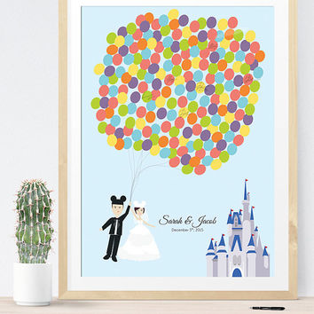 Wedding Guest Book Alternative For Disney Wedding With Couple Holding  Balloons And Castle, Unique Wedding