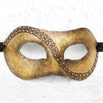 Handpainted Metallic Gold Masquerade Mask - Gold Venetian Style New Year's Masquerade Ball Mask With Studs - For Men